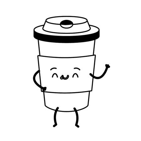 kawaii cartoon coffee cup character vector illustration