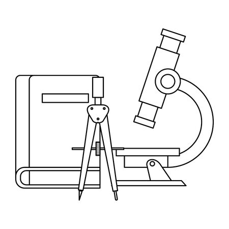 textbook school with compass and microscope vector illustration design