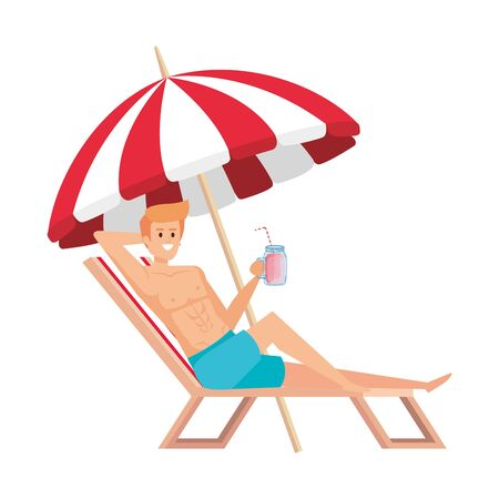 young man relaxing in beach chair drinking juice fruit vector illustration design Ilustrace