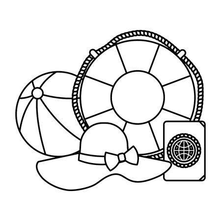 beach ball with float and passport vector illustration design Standard-Bild - 129357647