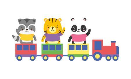 cute panda tiger raccoon animals train toy vector illustration