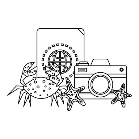 passport with camera photographic and crab vector illustration design Illusztráció