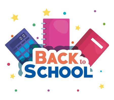 notebook with book and calculator elementary suppies to back to school vector illustration