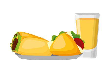 mexican taco burrito tequila delicious vector illustration Ilustração