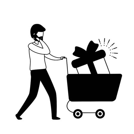 man with smartphone and shopping cart vector illustration design