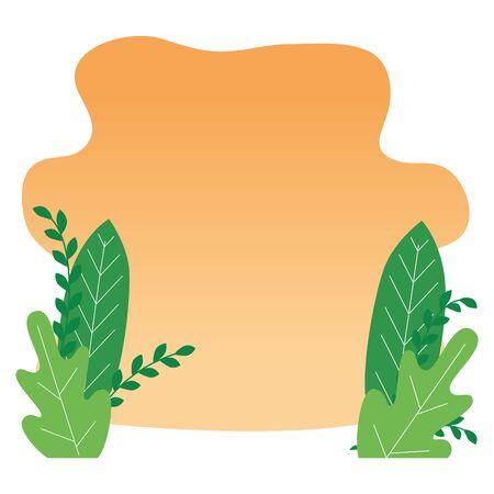 leafs garden landscape scene icon vector illustration design