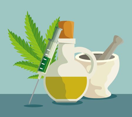 cannabis oil in the jar with stone grinding crusher and syringe vector illustration