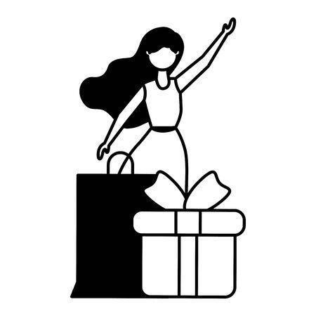 woman shopping bag and gift vector illustration