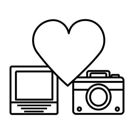 social media digital love heart photo camera vector illustration 向量圖像