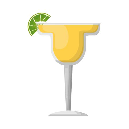 cocktail drink liquor with lime vector illustration Иллюстрация