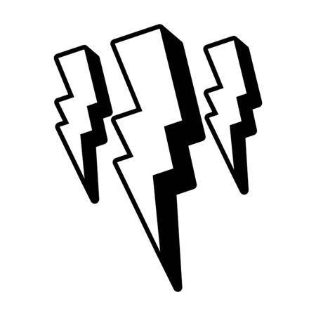 thunderbolt power pop art element vector illustration