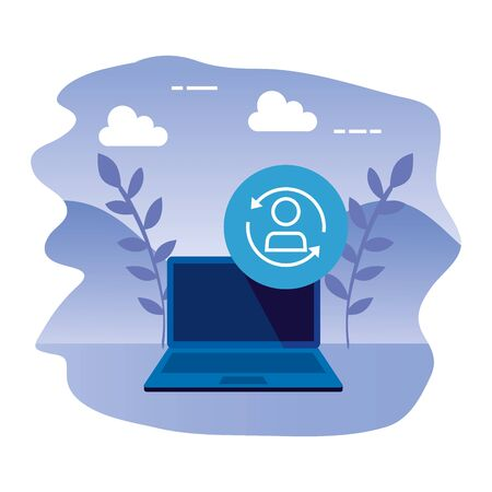 laptop computer with user reload vector illustration design Illustration