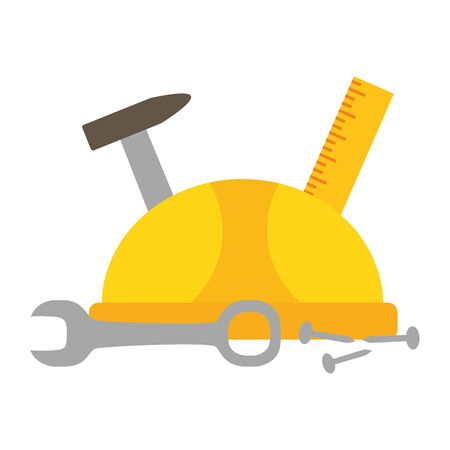 helmet ruler hammer screw spanner labour day vector illustration Banco de Imagens - 129834209