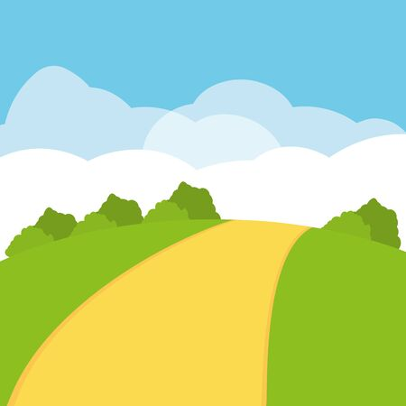 landscape road field sky clouds bushes vector illustration