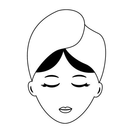 Frau Gesicht mit Handtuch Spa-Vektor-Illustration