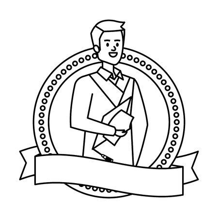young man student graduated in ribbon emblem vector illustration design