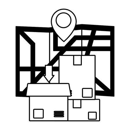 cardboard boxes map navigation gps fast delivery vector illustration