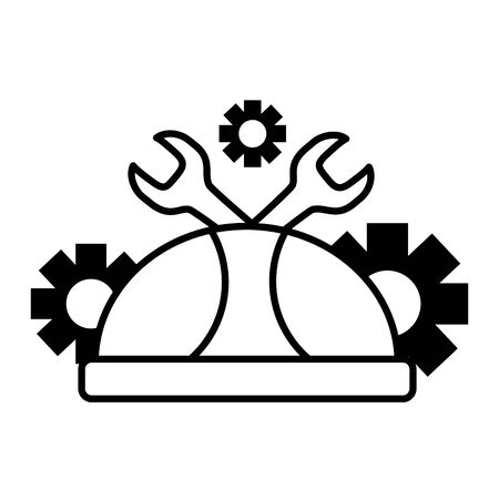 hard hat wrench and gears labour day vector illustration