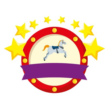 carousel horse carnival with stars emblem vector illustration design