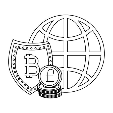 electronic commerce with bitcoin symbol vector illustration design