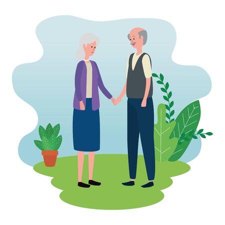 cute grandparents couple avatars characters vector illustration design