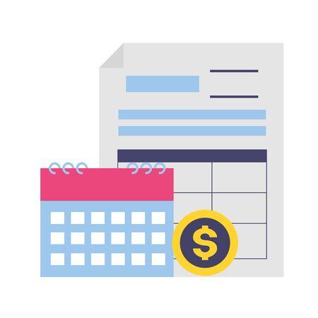 tax payment document calendar money coin vector illustration Ilustracja