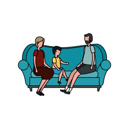 cute grandparents couple with grandson in the sofa vector illustration design
