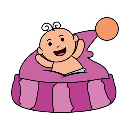 cute little baby girl with hat vector illustration design Ilustração