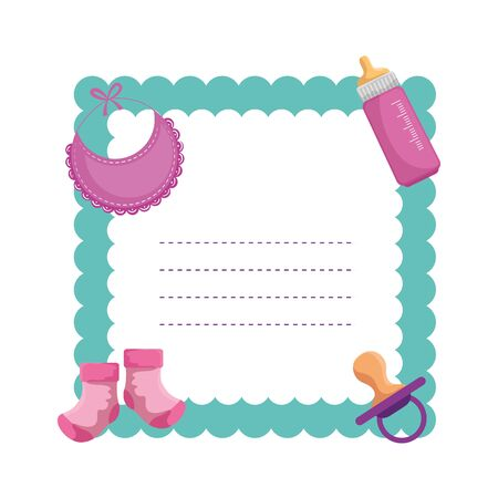 baby shower card with set icons vector illustration design