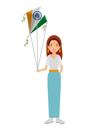 beautiful woman from india flying kite with flag vector illustration design Illustration