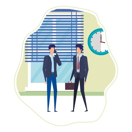 businessmen using smartphone in the workplace vector illustration design