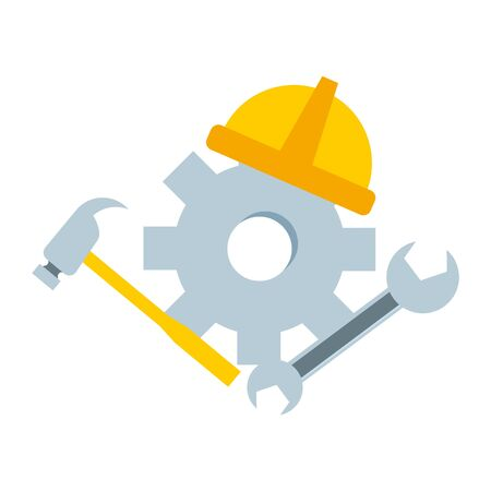 happy labour day wheel helmet hammer spanner tools vector illustration