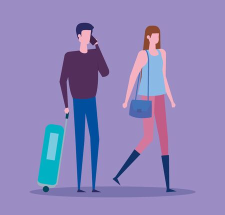 woman and man with baggage and casual clothes over purple background, vector illustration