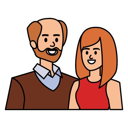 adults parents couple avatars characters vector illustration design