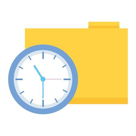 work folder clock time business vector illustration