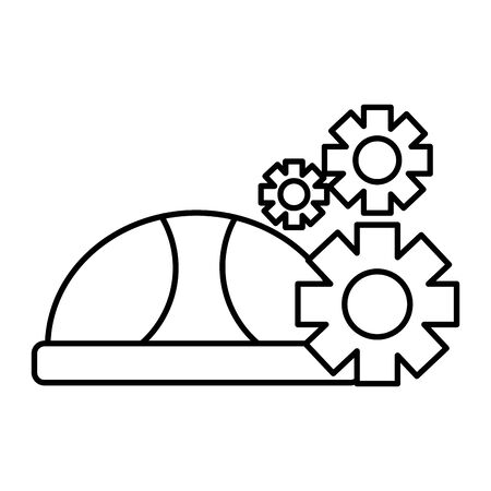 hard hat and gears labour day vector illustration