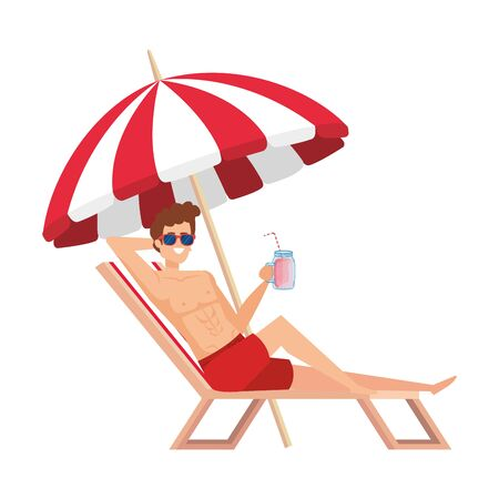 young man relaxing in beach chair drinking juice fruit vector illustration design Ilustração