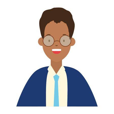 man portrait character on white background vector illustration  イラスト・ベクター素材