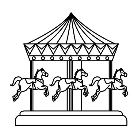carnival carousel horses icon vector illustration design