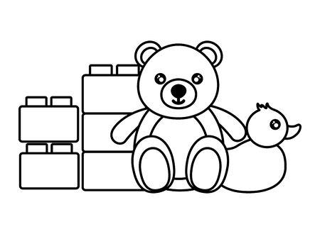 bear duck and blocks brick baby toys vector illustration