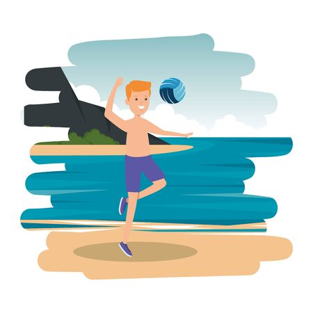 happy athletic boy practicing volleyball on the beach vector illustration design Standard-Bild - 129359525