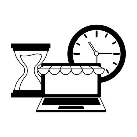 laptop clock online shopping time vector illustration