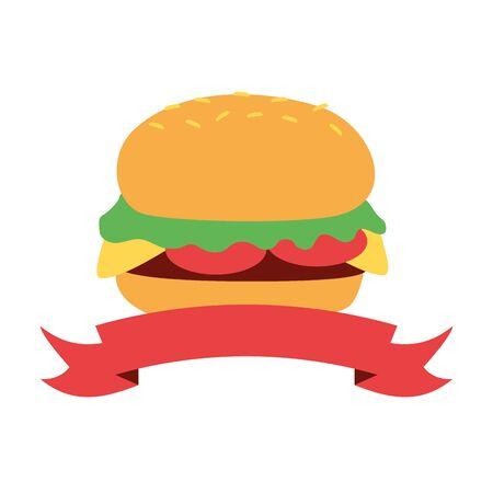 burger fast food on white background vector illustration Illustration
