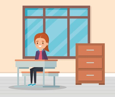 girl child in the classroom with desk and window to school education vector illustration 向量圖像