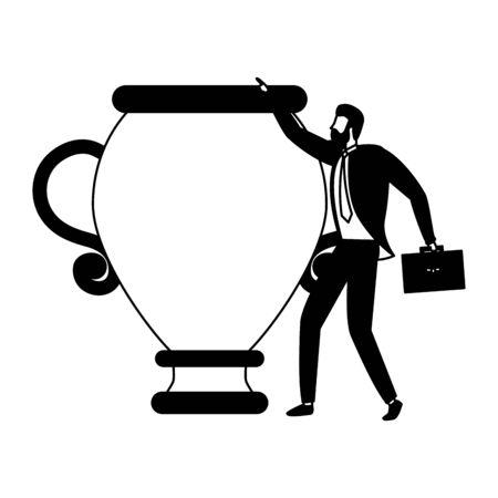 businessman trophy briefcase business success vector illustration