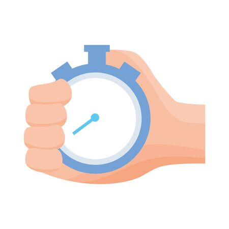 hand holding stopwatch time on white background vector illustration