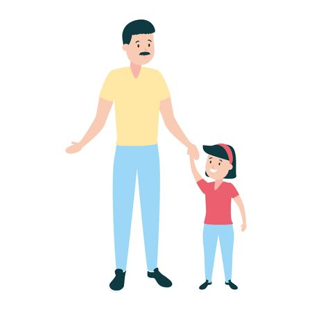 family father with daughter vector illustration design Banco de Imagens - 129268403