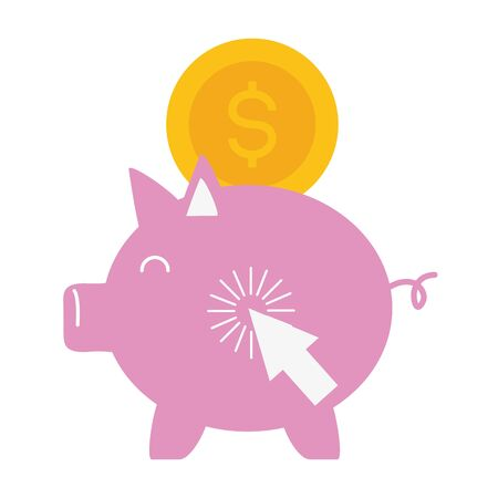 piggy bank coin money online payment vector illustration Stok Fotoğraf - 129268405