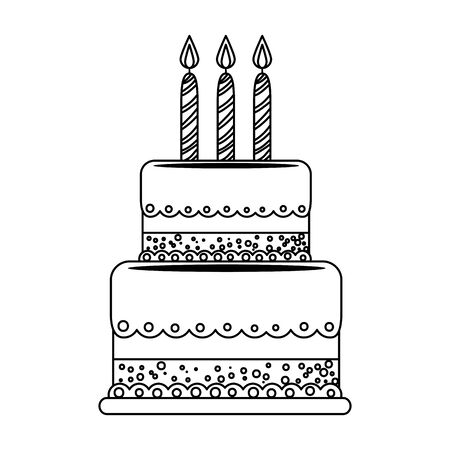 sweet cake bakery with candles vector illustration design Фото со стока - 129268411