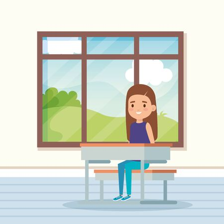girl child in the classroom with window and desk to school education vector illustration